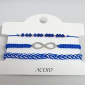 ACERO INOXIDABLE. Conjunto 3 pulseras de hilo ajustable. Color AZUL OSCURO