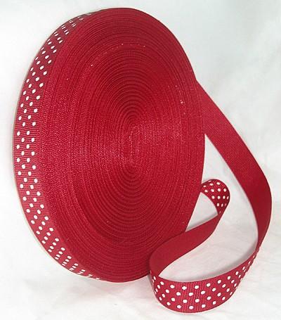 Cinta grosgrain roja con topos blancos 9mm. (Precio por metro)
