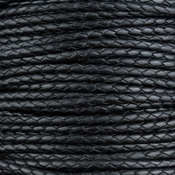 20 cms. Cordon de cuero redondo trenzado 3mm. Color Negro