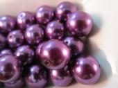 Abalorio bola acrílica 12mm morado imitación perla. Pase 1,5mm