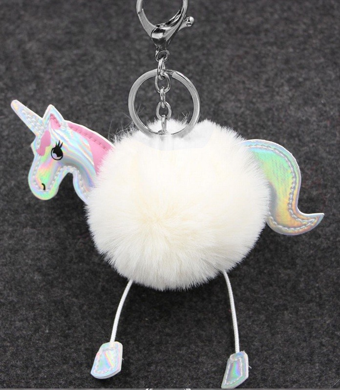 Pompon llavero unicornio sintético BLANCO 13.5 X 12 mm