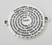 Conector aleación de metal 30x30mm. Agujero 2,3mm. Padre nuestro.