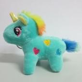 Llavero peluche unicornio con corazones 80x90mm. Color Turquesa