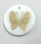 Colgante Nacar 20mm con adorno dorado mariposa