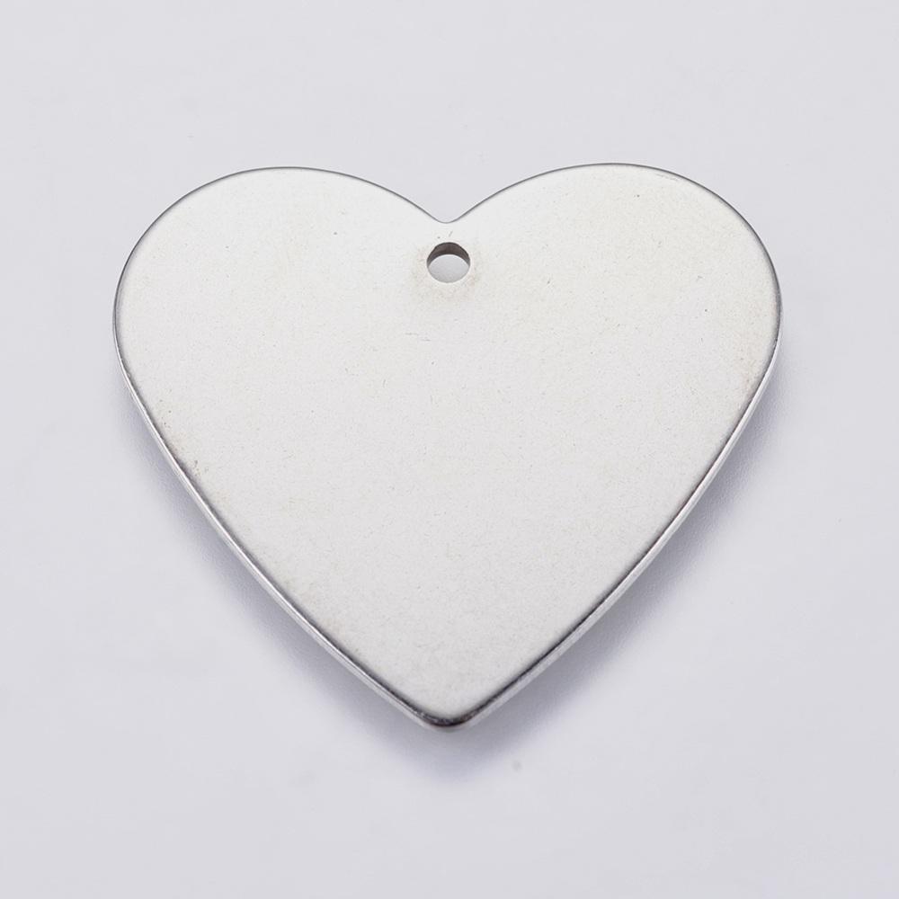 PERSONALIZABLE. Corazón acero inoxidable 24x27x1mm. Hole: 1.3mm