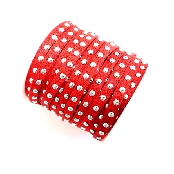 Antelina roja 5mm con tachuelas plateadas. Precio por metro