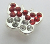 Abalorios metálicos mariposa con strass Roja y blanca 14x10x5mm. Pase 1,5mm