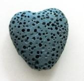 Abalorio de lava natural porosa corazón 20mm. Verde azulado