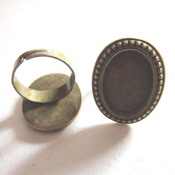 Base anillo camafeo bronce antiguo interior 20x15mm.