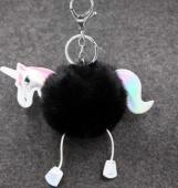 Ponpon llavero unicornio sintetico negro 13.5 X 12 mm