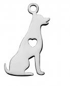 Colgante perro acero inoxidable 20x11x1mm.  Agujero 1,5mm