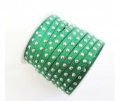 Antelina fuerte verde 5mm con tachuelas plateadas. Precio por metro
