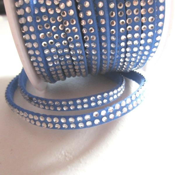 Antelina strass 5mm azul. (Precio por metro)