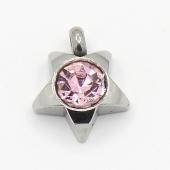 Colgante acero inoxidable estrella con cristal facetado color rosa 9x8x3mm. Agujero 1,5mm