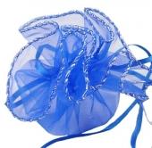 Bolsitas organza azul diámetro 27cm.