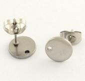 (1 Par) Base pendiente moneda 8mm acero inoxidable. Agujero 1mm.
