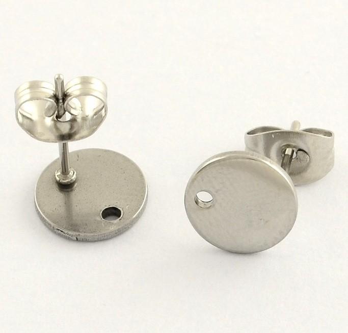 (1 Par) Base pendiente moneda 8mm acero inoxidable 304. Agujero 1mm.