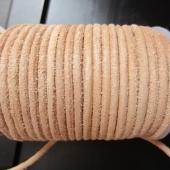 Bobina 25 metros. Cordon de cuero rustico natural 4mm