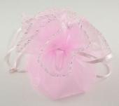 Bolsitas organza rosa diámetro 27cm.