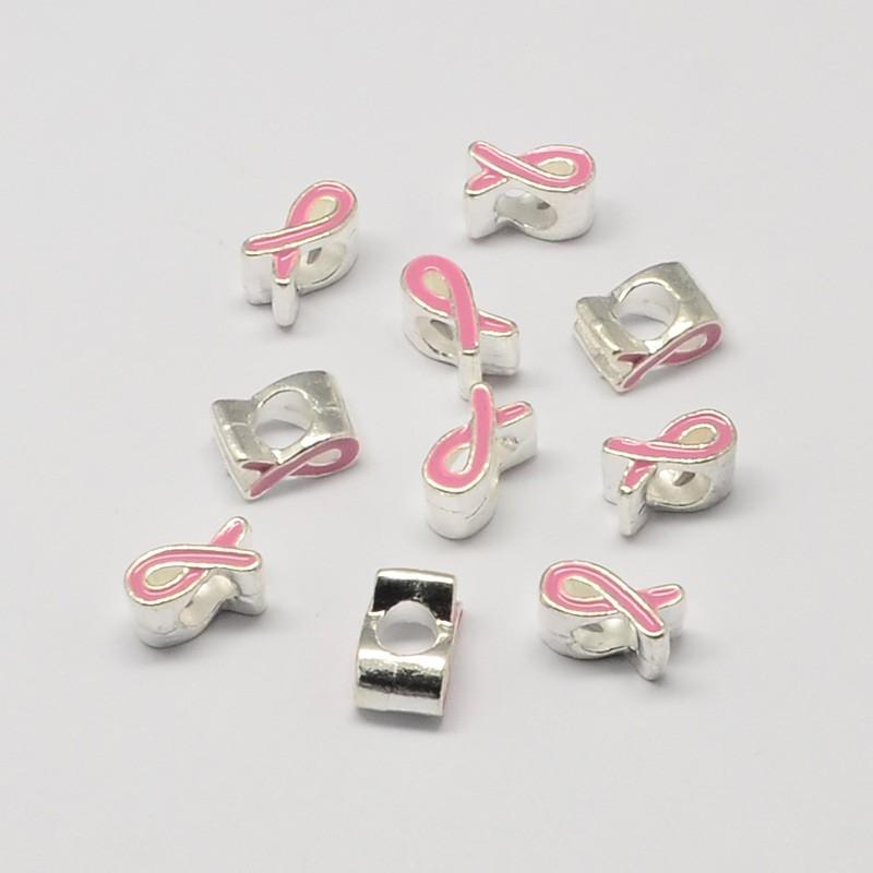 Abalorio aleación de metal lazo rosa 11x6mm pase 5mm