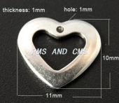 Colgante de acero inoxidable corazon 11x10x1mm. Agujero 1mm