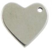 Personalizable. Colgante corazón zamak 19x20mm. Agujero 2mm. Baño de plata