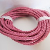 20 cms. Cuero redondo trenzado 5mm. rosa