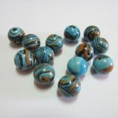 Bola turquesa sintética 10mm. Pase 1mm. (mosaico azul)
