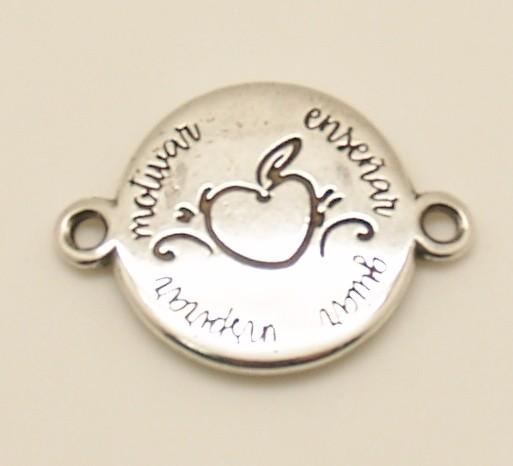 Conector enseñar guiar... 22MM. anillas 2,8mm. Zamak baño de plata