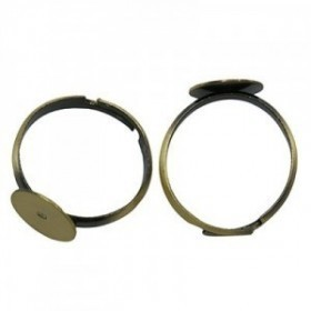 1 unidad. Bases anillo ajustable 17mm bronce antiguo con base 19mm