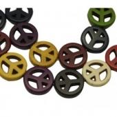 10 Unidades. Abalorio howlita simbolo de la paz 15mm. Agujero 1,5mm. (Varios colores)