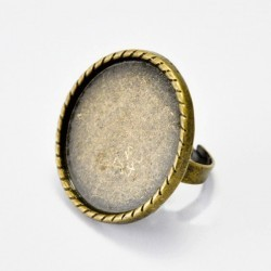 Base anillo ajustable oval 20mm bronce antiguo