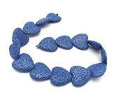 Abalorio de lava natural porosa corazón 20mm. Azul fuerte