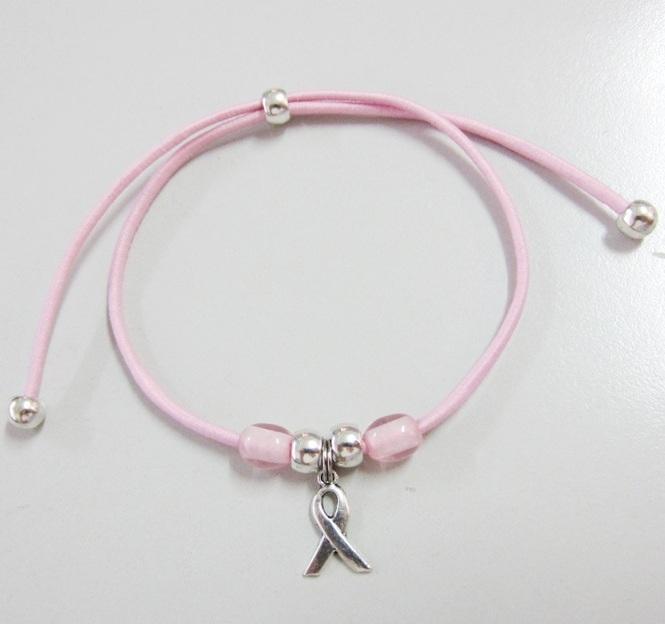 10 unid. Kit de montaje pulsera cordón elástico 2mm rosa.