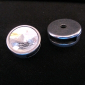 Abalorio zamak redondo con cristal 18mm. Pase 13x2,5