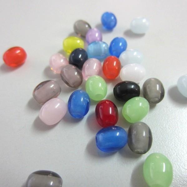 20 unidades. Abalorio barril resina 6x8mm. Pase 2,5mm. Mix Colores
