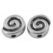 Abalorios metalicos espiral aleación de metal color plata vieja  9mm. Agujero 1,5mm