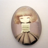 Cabuchon cristal niña con diadema de flores 30x40. Mod. 120
