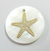 Colgante Nacar 25mm con adorno dorado estrella de mar