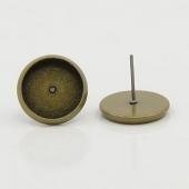 6 unidades. Pendiente cabuchon 12mm con tope silicona. bronce antiguo