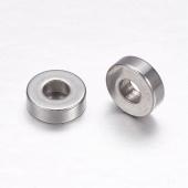 10 unidades. Abalorio rondel acero inoxidable 7x2mm. Agujero 2,7mm.