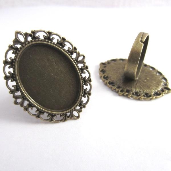 Base anillo bronce antiguo interior 25x18mm